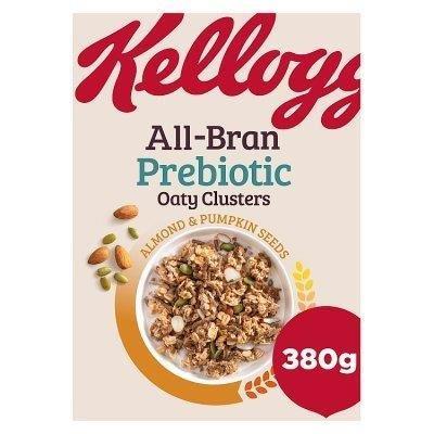 Kellogg's All-Bran Prebiotic Oaty Clusters Almond & Pumpkin Seeds 380g NEW