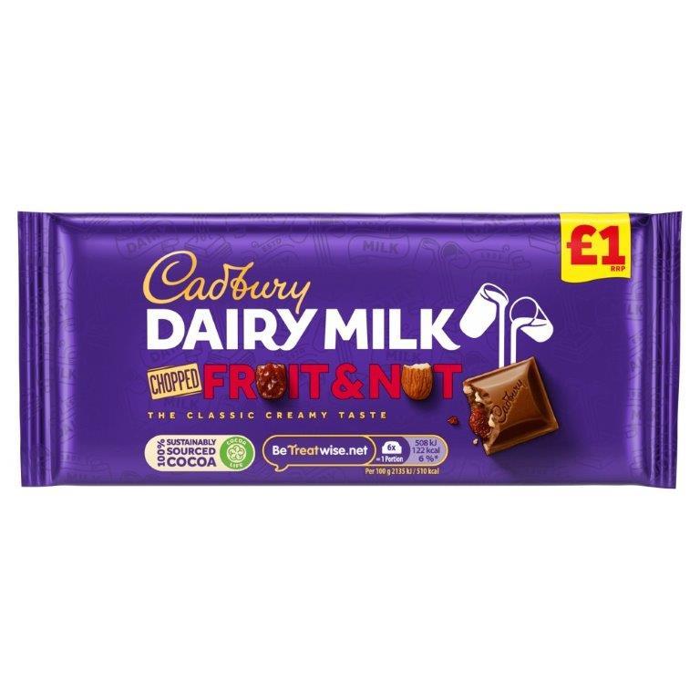 Cadbury Dairy Milk Block Fruit & Nut Chopped 95g PM £1