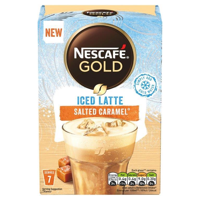 Nescafe Sachets Gold Iced Salted Caramel Latte 7's (7 x 14.5g) NEW
