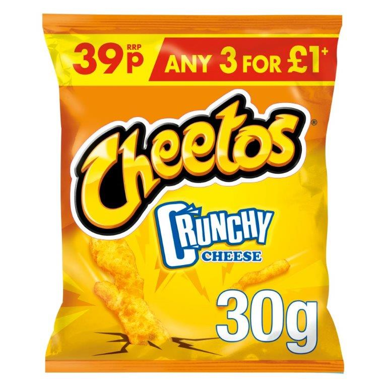 Cheetos Crunchy Cheese Snacks 30g PM 39p / 3 For £1