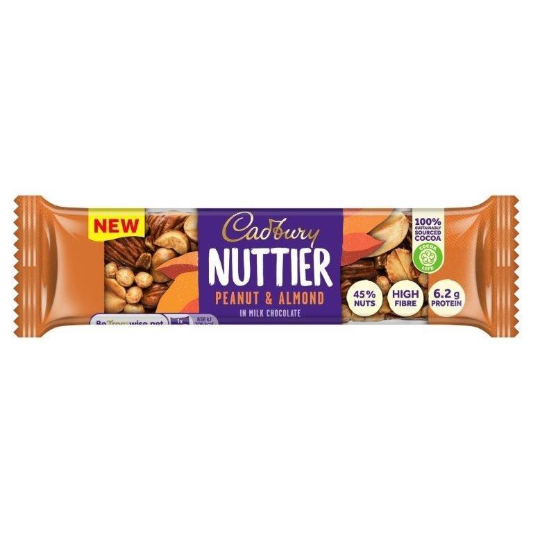 Cadbury Nuttier Peanut & Almond Chocolate Bar 40g NEW