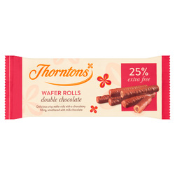 Thornton's Wafer Rolls Double Chocolate +25% 129g