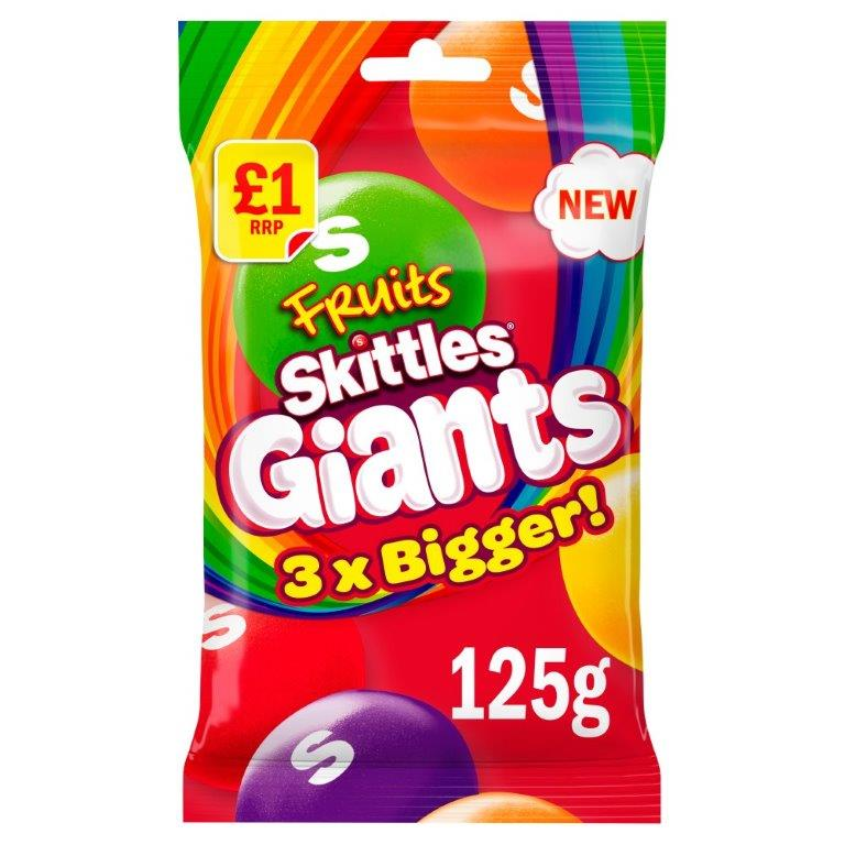 Skittles Bag Fruit Giants 125g PM £1 NEW